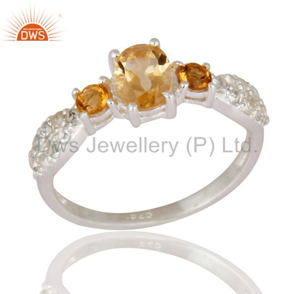 Citrine Gemstone And White Topaz Halo Gemstone Ring in 925 Sterling Silver