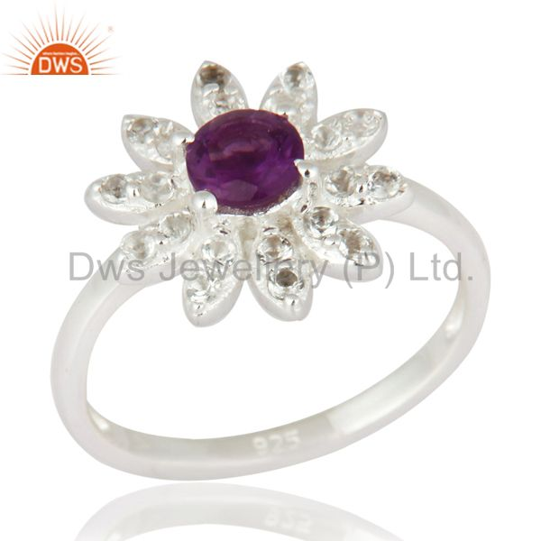 Natural Amethyst Gemstone & White Topaz Sterling Silver Floral Ring Fine Jewelry