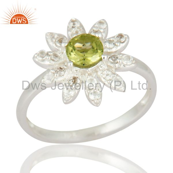 Unique 925 Sterling Silver Peridot And White Topaz Gemstone Fine Ring Jewelry