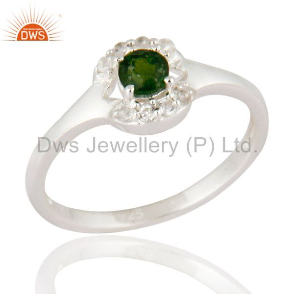925 Sterling Silver White Topaz And Chrome Diopside Gemstone Ring Fine Jewelry
