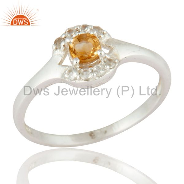 925 Sterling Silver Natural Citrine & White Topaz Solitaire Engagement Ring