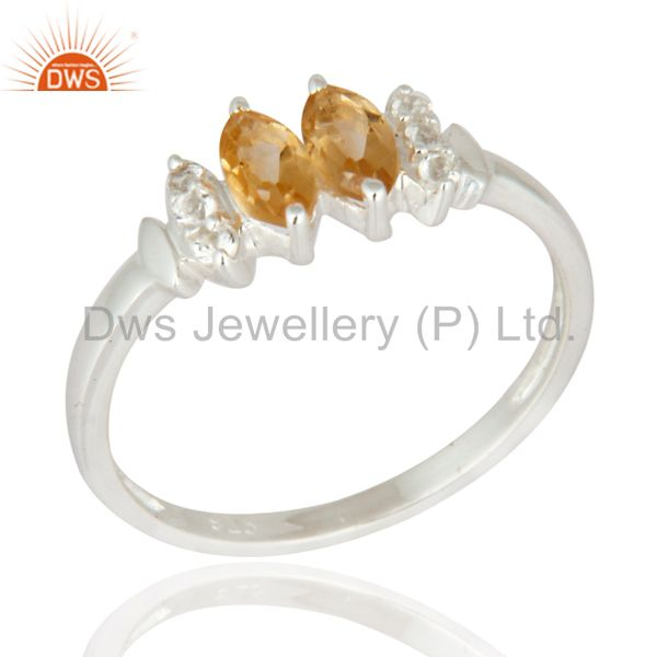 Marquise-Cut Citrine And White Topaz Gemstone Solitaire Ring in Sterling Silver
