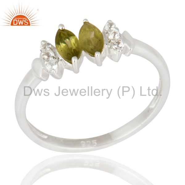 925 Sterling Silver Marquise Cut Peridot Gemstone & White Topaz Engagement Ring