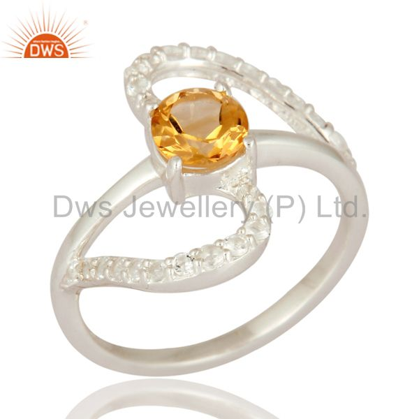 Solid 925 Sterling Silver Natural Citrine Solitaire Ring With White Topaz