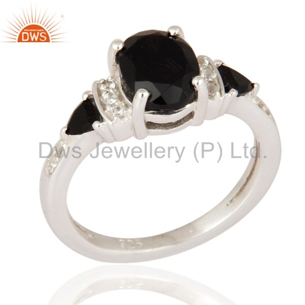 Solid Sterling Silver Black Onyx And White Topaz Designer Ring Size 6