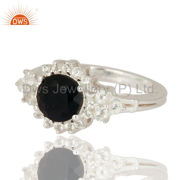 Fine 925 Sterling Silver Ring Jewelry With Black Onyx And White Topaz Gemstone