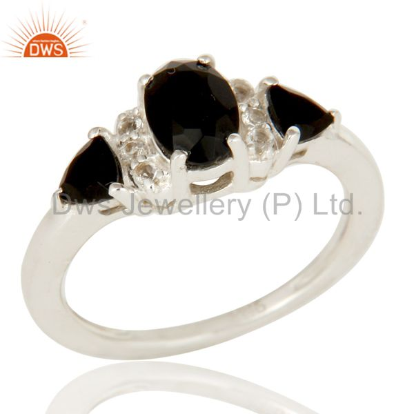 Black Onyx And White Topaz Solitaire Three Stone Ring Made In Sterling Silver