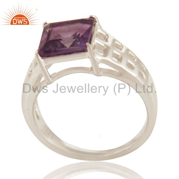 Natural Amethyst Gemstone Square Cut Sterling Silver Ring