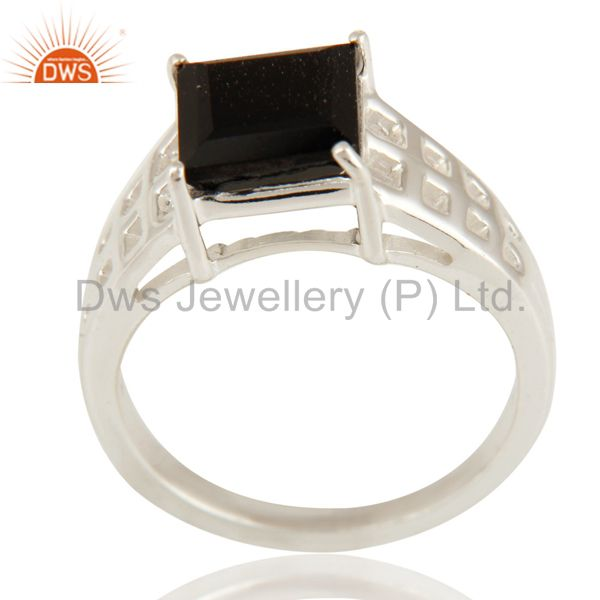 Natural Black Onyx Gemstone Square Cut Sterling Silver Ring