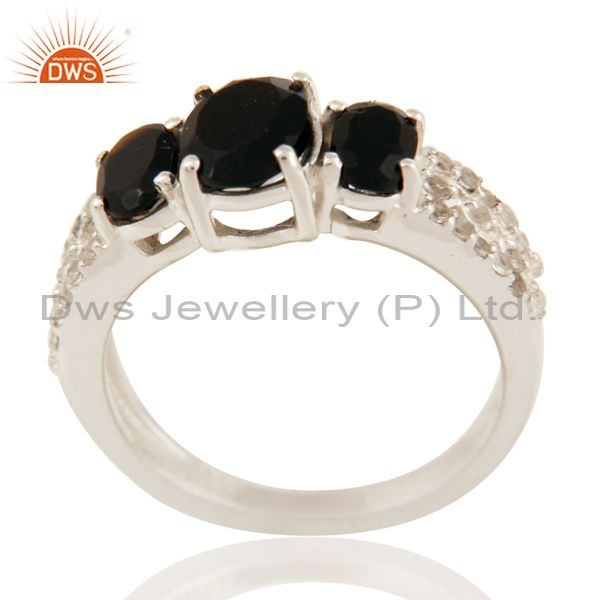 Natural Black Onyx And White Topaz Sterling Silver Ring