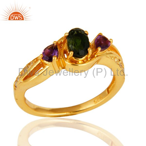 Chrome Diopside, Amethyst And Round White Topaz 14K GOld On Sterling Silver Ring