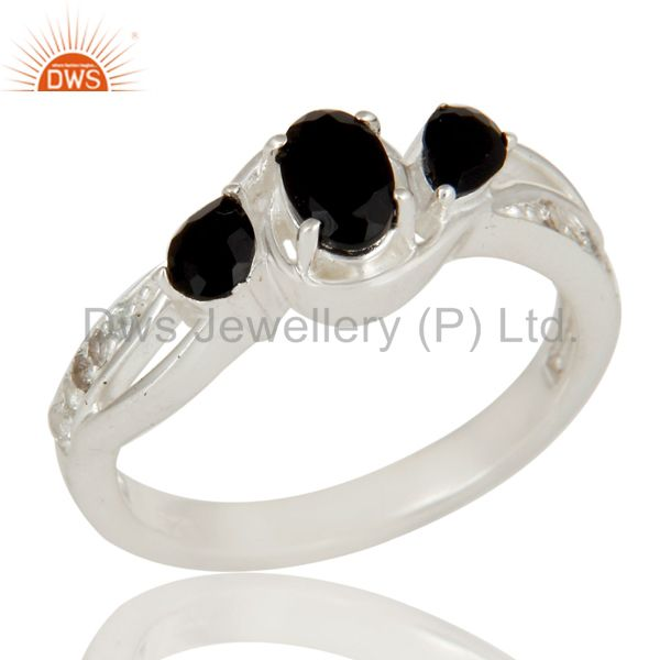 Black Onyx And White Topaz Sterling Silver Gemstone Solitaire Ring