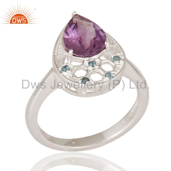 Natural Blue Topaz And Amethyst Gemstone 925 Sterling Silver Solitaire Ring