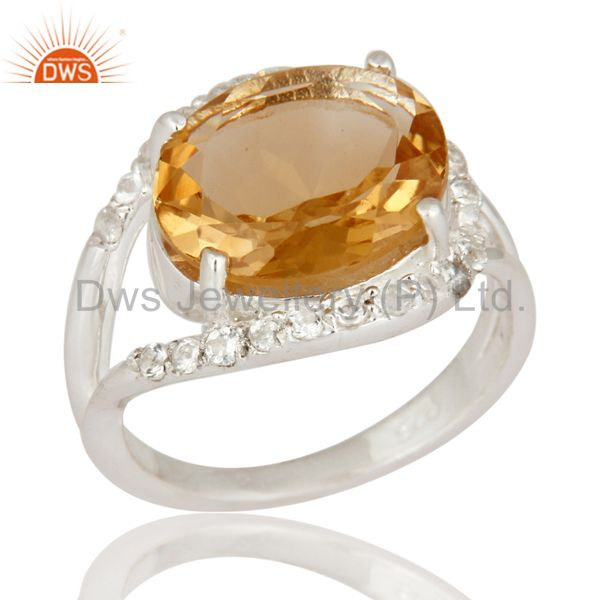 Genuine Citrine And White Topaz Gemstone 925 Sterling Silver Solitaire Ring