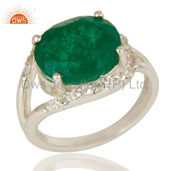 925 Sterling Silver Emerald Green Corundum And White Topaz Split Shank Ring