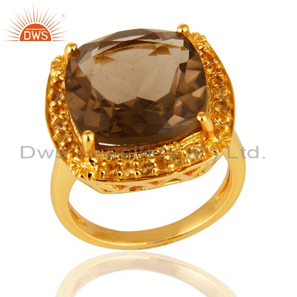 14K Yellow Gold Over Sterling Silver Citrine & Smoky Quartz Cushion Cut Ring