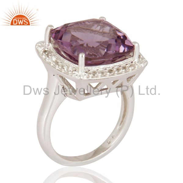 White Topaz And Amethyst Gemstone Solitaire Ring In Solid 925 Sterling Silver