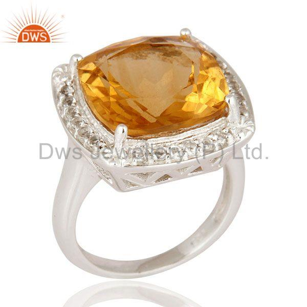 Natural Citrine Gemstone Cushion Shape Sterling Silver White Rhodium Plated Ring