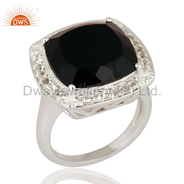 Black Onyx Cushion Cut Gemstone Ring With White Topaz In 925 Sterling Silver
