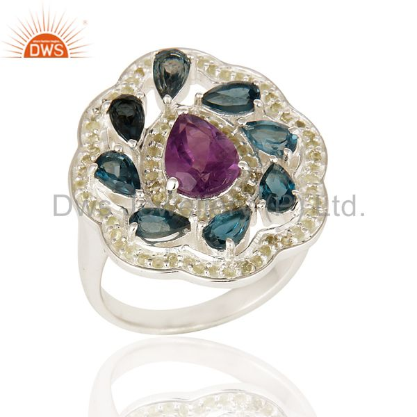 Natural Amethyst And Blue Topaz 925 Sterling Silver Cocktail Ring With Peridot