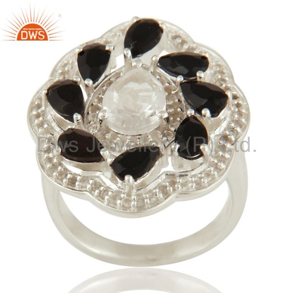 Crystal Quartz And Black Onyx Sterling Silver White Topaz Flower Cocktail Ring