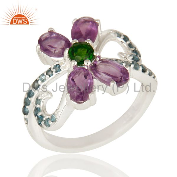 Blue Topaz, Amethyst And Chrome Diopside Sterling Silver Cocktail Cluster Ring