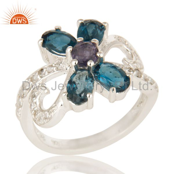 Iolite And Blue Topaz Sterling Silver Cluster Ring With White Topaz