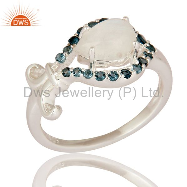 Rainbow Moonstone And Blue Topaz 925 Sterling Silver Ring - Nickel Free Jewelry