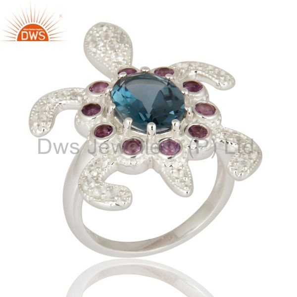 Sterling Silver Amethyst & London Blue Topaz Tortoise Design Fine Gemstone Ring