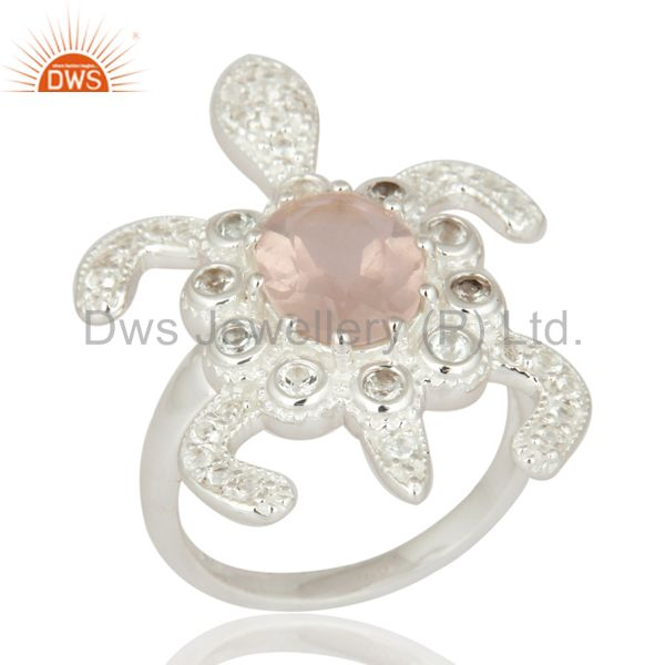 925 Sterling Silver Rose Quartz & White Topaz Tortoise Fashion Womens Ring