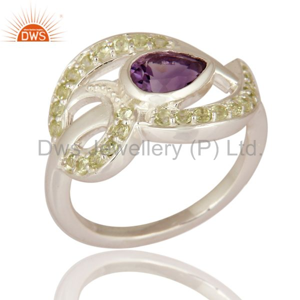 Genuine Amethyst Gemstone Solid 925 Sterling Silver Ring With Peridot