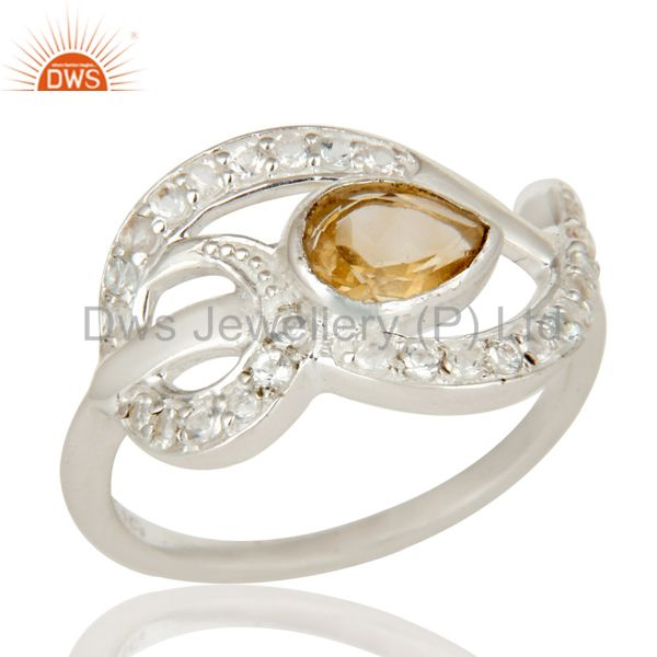 925 Sterling Silver Citrine And White Topaz Gemstone Designer Ring