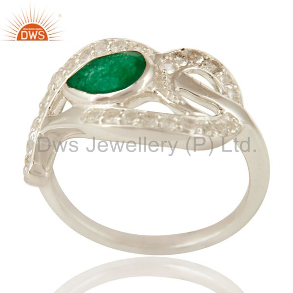 Green Aventurine Gemstone And White Sterling Silver Ring