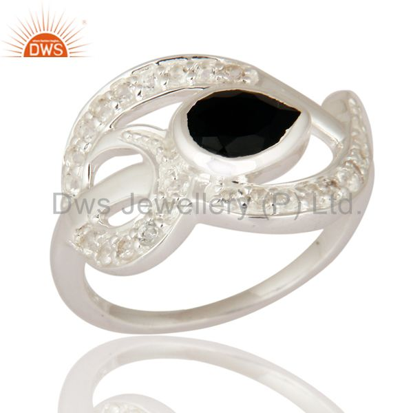Natural Black Onyx Gemstone 925 Sterling Silver Ring With White Topaz