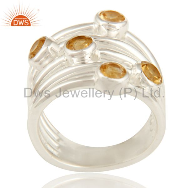 925 Sterling Silver Natural Citrine Round Cut Gemstone Ring