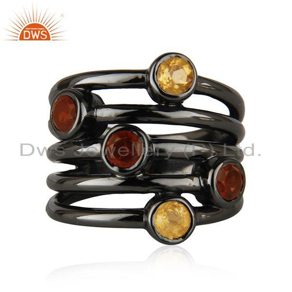 Natural Citrine and Garnet Black Rhodium Plated 925 Silver Statement Rings