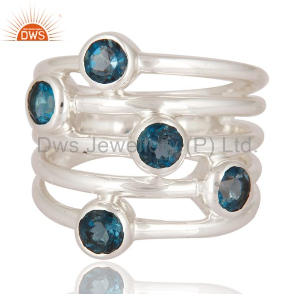 Solid 925 Sterling Silver Handmade Fashion Design Blue Topaz Statement Ring