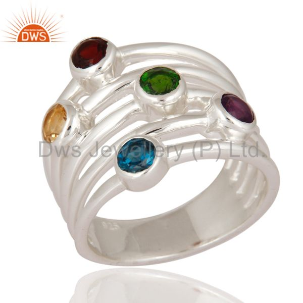 Designer 925 Sterling Silver Fine Multi-color Gemstone Ring Jewelry