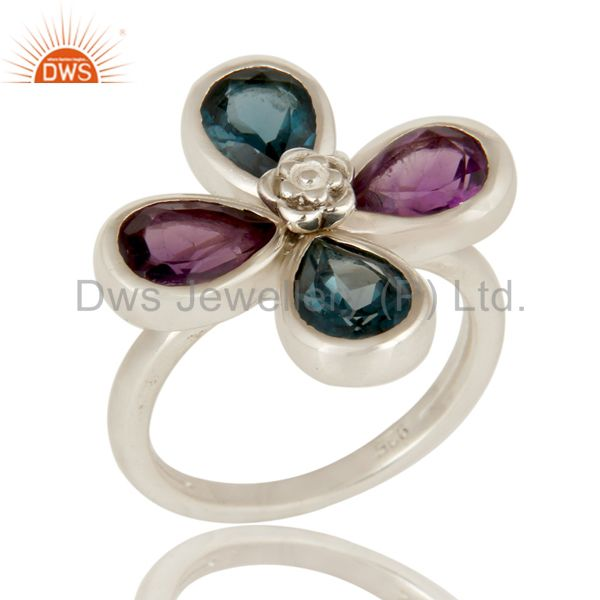 925 Sterling Silver London Blue Topaz And Amethyst Flower Cocktail Ring