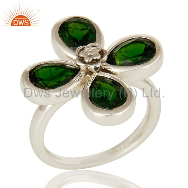 Natural Chrome Diopside 925 Sterling Silver Floral Cocktail Ring