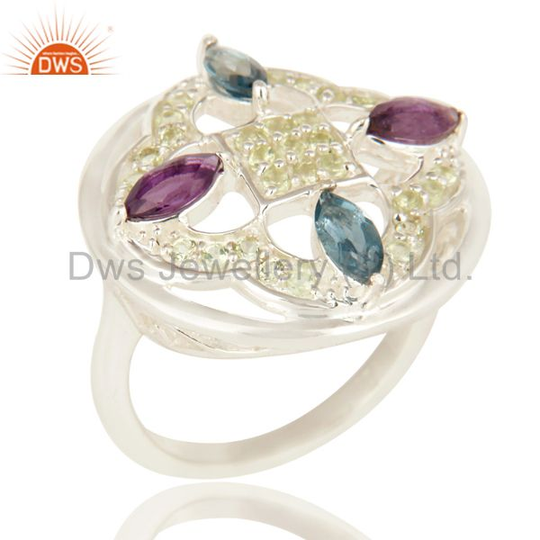 Amethyst, Peridot And Blue Topaz Sterling Silver Cluster Cocktail Ring