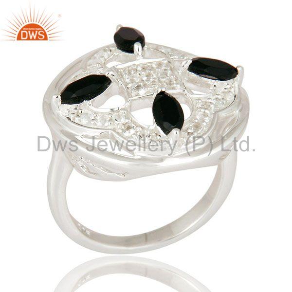 Unique Design Sterling Silver Black Onyx Gemstone Designer Ring With White Topaz