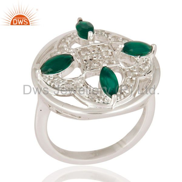 925 Sterling Silver White Topaz And Green Onyx Gemstone Solitaire Designer Ring