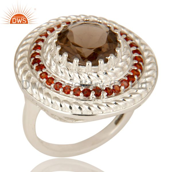 925 Sterling Silver Garnet And Smoky Quartz Gemstone Cluster Cocktail Ring