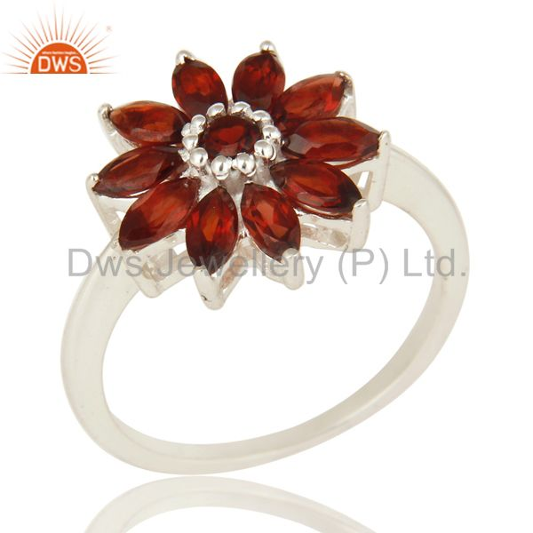 925 Sterling Silver Natural Garnet Marquise Cut Gemstone Cluster Cocktail Ring