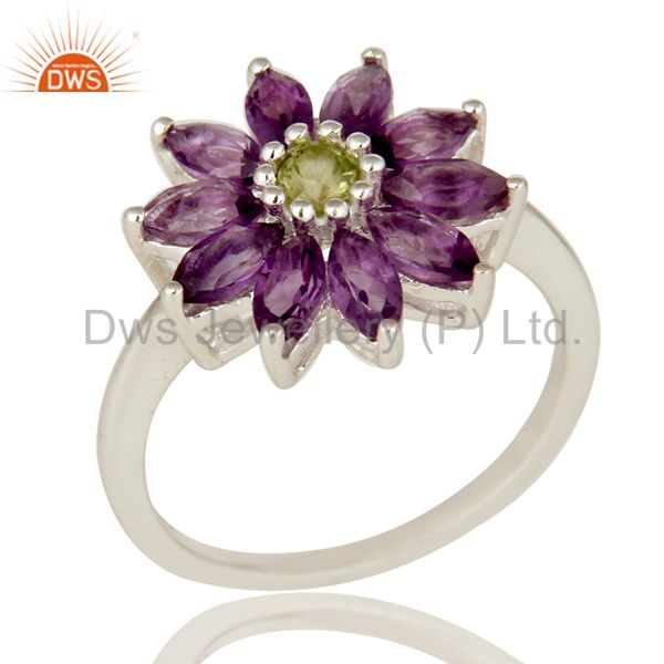 925 Sterling Silver Amethyst And Peridot Gemstone Flower Cocktail Ring