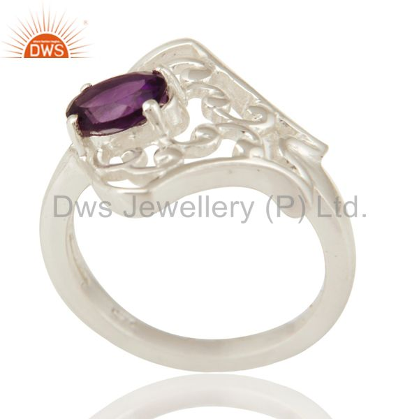 Natural Amethyst Gemstone Oval Cut Solid Sterling Silver Ring