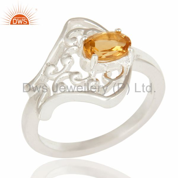 925 Sterling Silver Natural Citrine Gemstone Designer Ring