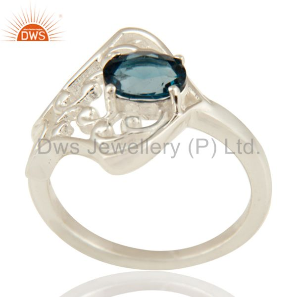 925 Sterling Silver Natural London Blue Topaz Oval Cut Solitaire Ring