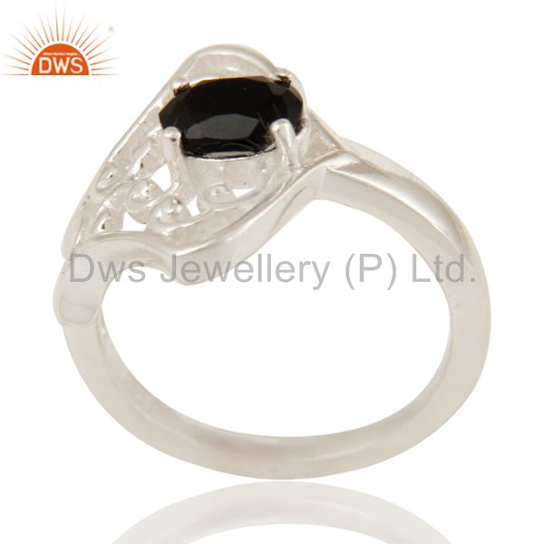 925 Sterling Silver Natural Black Onyx Gemstone Prong Set Ring